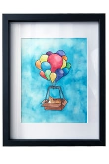 6-Cat-in-a-Hot-Air-Balloon-Box---Framed