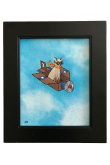 8-Cat-in-an-Airplane-Box---Framed