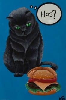 Cat Contemplating Cheeseburger