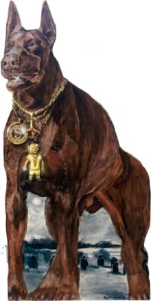 ray-young-chu-red-doberman-with-gold-chain-acrylic-on-panel-july-07-2016