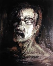 """Tom Baxa """"Zombie Head"""" 8x10, oils on hardboard $399_10_ZombieHead"""