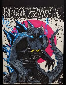 """20210603_Rev. Steve Hernandez """"Baconzilla"""" 11"""" x 14"""" $150 135854"""