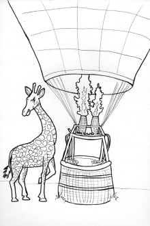 giraffe and hot air balloon