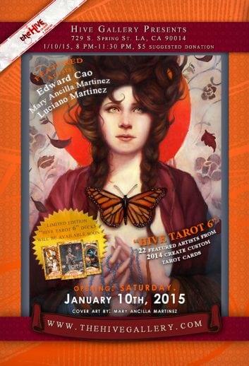 January 2015- Hive Tarot 6 (opening Jan.10th) postcard