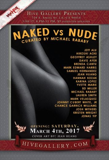 "March 2017- ""Naked vs. Nude"" Photography show postcard"