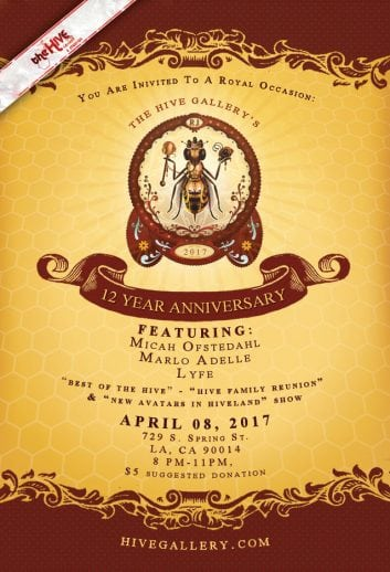April 2017- Hive 12 Year Anniversary show! postcard