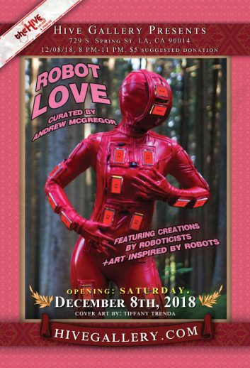 "December 2018- ""Robot Love"" and ""Rising Stars of LA"" show! postcard"
