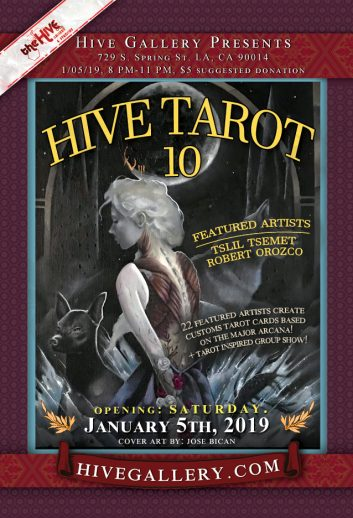 Hive Tarot 10 Show- Opening January 5th postcard