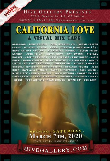 "March 2020- ""California Love""- Photography show opening March 7th postcard"