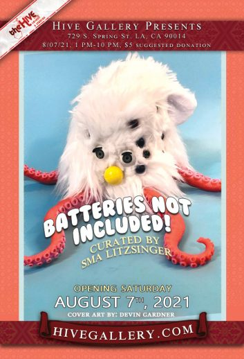 """""""Batteries Not Included""""- Furby themed show + """"Fresh Honey"""" group show postcard"""